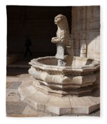 Lion Fountain Jeronimos Monastery In Lisbon Fleece Blanket