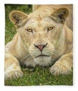 Lion In The Grass Fleece Blanket