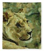 Lion Looking Back Fleece Blanket
