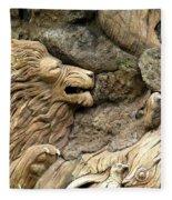 Lion On The Tree Of  Life Fleece Blanket