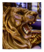 Lion Roaring Carrousel Ride Fleece Blanket