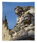 Lion Statue In Bruges Fleece Blanket