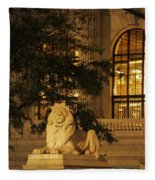 Lion Statue In New York City Fleece Blanket
