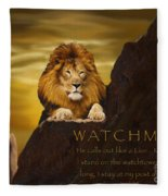 Lion Watchman Fleece Blanket