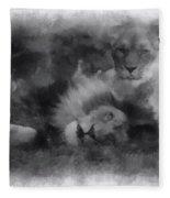 Lions Photo Art 01 Fleece Blanket
