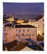 Lisbon At Night In Portugal Fleece Blanket
