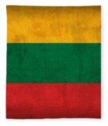Lithuania Flag Vintage Distressed Finish Fleece Blanket