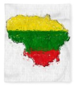 Lithuania Painted Flag Map Fleece Blanket
