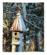 Little Birdhouse In The Woods Fleece Blanket