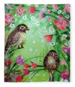 Little Birdies In Green Fleece Blanket