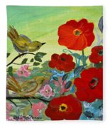 Little Birds And Poppies Fleece Blanket