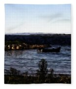Little Black Boat Abstraction Fleece Blanket