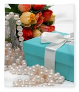Little Blue Gift Box With Pearls And Flowers Fleece Blanket