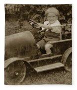 Little Boy In Toy Fire Engine Circa 1920 Fleece Blanket