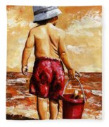Little Boy On The Beach II Fleece Blanket