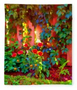 Little Country Scene Pink Flowers Climbing Leaves On Wood Fence Colors Of Quebec Art Carole Spandau Fleece Blanket
