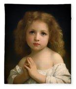 Little Girl And Her Prayer Fleece Blanket