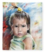 Little Girl From Tahiti Fleece Blanket