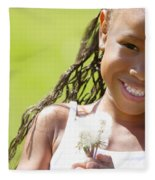 Little Girl Holding Weeds Fleece Blanket