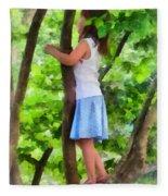Little Girl Playing In Tree Fleece Blanket