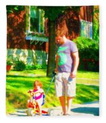 Little Girls First Bike Lesson With Dad Beautiful Tree Lined Street Summer Scene Carole Spandau  Fleece Blanket