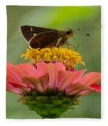 Little Glassywing Skipper Butterfly Fleece Blanket