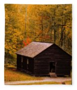 Little Greenbrier Schoolhouse In Autumn  Fleece Blanket