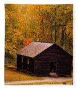 Little Greenbrier Schoolhouse In Autumn  Fleece Blanket