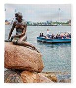 Little Mermaid Statue With Tourboat Fleece Blanket