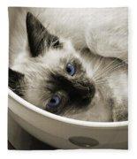 Little Miss Blue Eyes B W Fleece Blanket