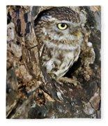 Little Owl In Hollow Tree Fleece Blanket