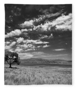 Little Prarie Big Sky - Black And White Fleece Blanket