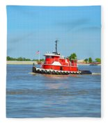 Little Red Boat On The Mighty Mississippi Fleece Blanket