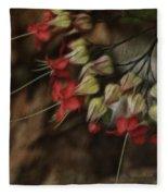 Little Red Flowers Fleece Blanket