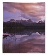 Little Redfish Lake Sunset Stanley Idaho Fleece Blanket