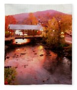 Little River Bridge At Sunset Gatlinburg Fleece Blanket