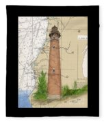 Little Sable Lighthouse Lake Mi Nautical Chart Map Art Cathy Peek Fleece Blanket
