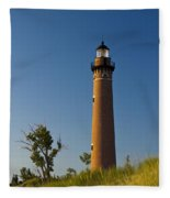 Little Sable Lighthouse On The Dune By Silver Lake Michigan No.560 Fleece Blanket
