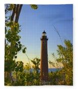 Little Sable Lighthouse Seen Through The Trees Fleece Blanket