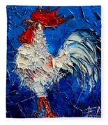 Little White Rooster Fleece Blanket