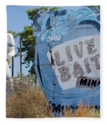 Live Bait Sign And Muffler Man Statue Fleece Blanket