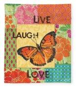 Live Laugh Love Patch Fleece Blanket