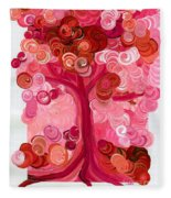Liz Dixon's Tree Red Fleece Blanket