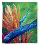 Lizard On Bird Of Paradise Fleece Blanket