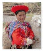 Llama Lady Fleece Blanket