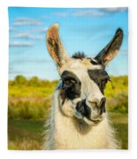 Llama Portrait Fleece Blanket