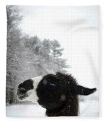 Llama Profile In Snowfall, Maine, New Fleece Blanket