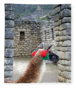 Llama Touring Machu Picchu Fleece Blanket