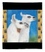 Llamas Tracks Farm Ranch Animal Art Camelid Fleece Blanket