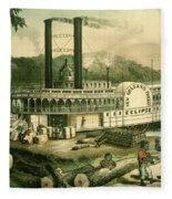 Loading Cotton On The Mississippi, 1870 Colour Litho Fleece Blanket